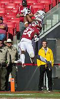 NWA Democrat-Gazette/BEN GOFF @NWABENGOFF<br /> Osirus Mitchell, Mississippi State wide receiver, makes a touchdown catch as LaDarrius Bishop, Arkansas cornerback, defends in the first quarter Saturday, Nov. 2, 2019, at Reynolds Razorback Stadium in Fayetteville.