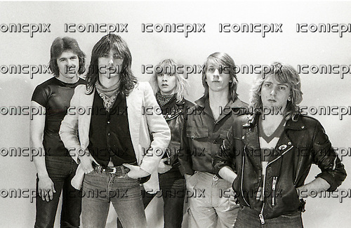 GIRL - L-R: Dave Gaynor, Gerry Laffy, Phil Lewis, Simon Laffy, Phil Collen - photosession in London UK - Jun 1980.  Photo credit: George Chin/IconicPix