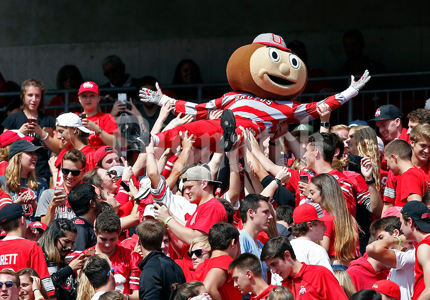 Brutus Buckeye body surfs in the fourth quarter of their game at Ohio Stadium in Columbus, Ohio on October 1, 2016. (Columbus Dispatch photo by Brooke LaValley)