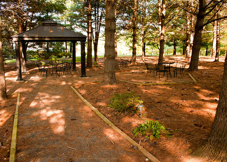 In addition to their spacious tasting room, Hidden Brook Winery has a shaded seating area out under the trees.