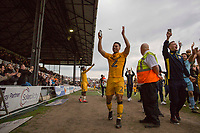 Jazzi Barnum-Bobb of Newport County celebrates during a lap of honour at full time of the Sky Bet League 2 match between Newport County and Notts County at Rodney Parade, Newport, Wales on 6 May 2017. Photo by Mark  Hawkins / PRiME Media Images.