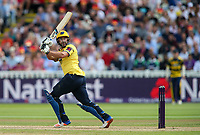 Birmingham Bears' Colin De Grandhomme hits the ball to the boundary for four<br /> <br /> Photographer Andrew Kearns/CameraSport<br /> <br /> NatWest T20 Blast Semi-Final - Birmingham Bears v Glamorgan - Saturday 2nd September 2017 - Edgbaston, Birmingham<br /> <br /> World Copyright &copy; 2017 CameraSport. All rights reserved. 43 Linden Ave. Countesthorpe. Leicester. England. LE8 5PG - Tel: +44 (0) 116 277 4147 - admin@camerasport.com - www.camerasport.com