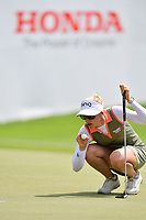 PATTAYA, THAILAND - FEBRUARY 22: Pernilla Lindberg of Sweden on the 18th green during the second round of the Honda LPGA Thailand 2019 at Siam Country Club Pattaya (Old Course), Pattaya, Thailand on February 22, 2019.<br /> .<br /> .<br /> .<br /> (Photo by: Naratip Golf Srisupab/SEALs Sports Images)<br /> .<br /> Any image use must include a mandatory credit line adjacent to the content which should read: Naratip Golf Srisupab/SEALs Sports Images