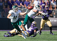 Stone Sander of Sacramento State lets a pass slip out of his grasp.