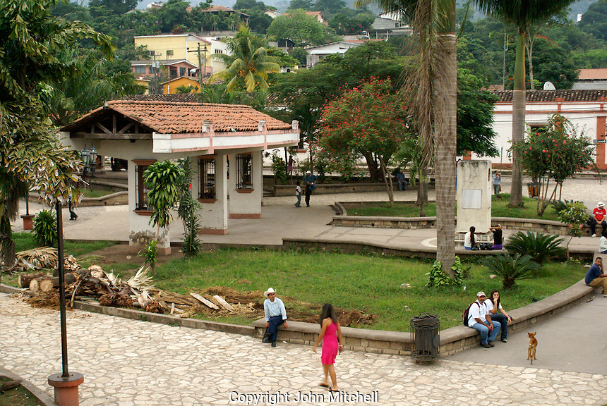 Main square in the town of Copan Ruinas, Honduras..