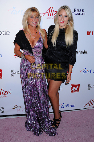 PAMELA BACH HASSELHOFF & HAYLEY HASSELHOFF.Celebrity Catwalk for Charity Benefit for National Animal Rescue at The Highlands Nightclub, Hollywood, California, USA..August 28th, 2008.full length purple pattern dress black shawl wrap mother mom mum daughter family silver bracelets skirt top cleavage .CAP/ADM/BP.©Byron Purvis/AdMedia/Capital Pictures.