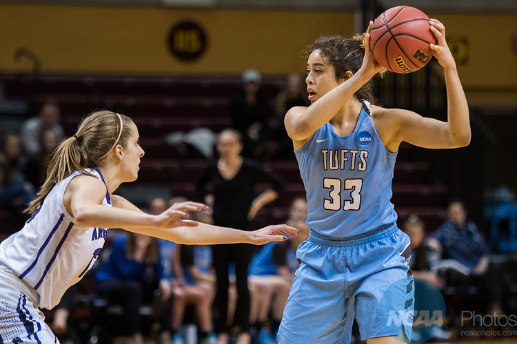 GRAND RAPIDS, MI - MARCH 18: Melissa Baptista (33) of Tufts University keeps hold of the ball against Meredith Doswell (13) of Amherst College during the Division III Women's Basketball Championship held at Van Noord Arena on March 18, 2017 in Grand Rapids, Michigan. Amherst College defeated Tufts University 52-29 for the national title. (Photo by Brady Kenniston/NCAA Photos via Getty Images)