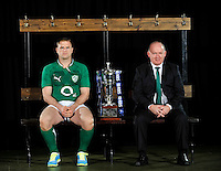 London, England. Ireland captain Jamie Heaslip and Declan Kidney the Ireland head coach pose with the Six Nations trophy during the RBS Six Nations launch at The Hurlingham Club on January 23, 2013 in London, England.