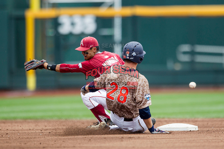 Arkansas Razorbacks second baseman Rick Nomura (1) misses a throw at second base against the Virginia Cavaliers in Game 1 of the NCAA College World Series on June 13, 2015 at TD Ameritrade Park in Omaha, Nebraska. Virginia defeated Arkansas 5-3. (Andrew Woolley/Four Seam Images)