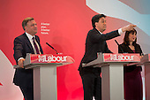 Ed Miliband, Ed Balls, Rachel Reeves.  Labour Party election press conference, RIBA, London.