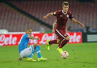 Gokhan Inler  Radoslav Kovac  during the Europa League   soccer match between SSC Napoli and Sparta Praha  at  the San Paolo   stadium in Naples  Italy , september 18 , 2014
