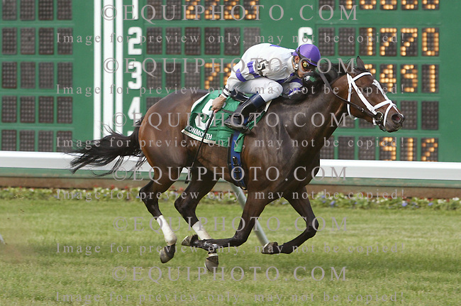 Platinum Girl #5 with Eddie Castro riding won the $65,000 Little Silver Stakes at Monmouth Park in Oceanport, N.J.  Photo By Jessica Denver/EQUI-PHOTO