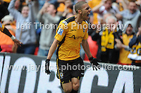 Newports Christian Jolley is estatic after scoring his sides first goal during the Newport County v Wrexham Blue Sq. Bet Premier league playoff final at Wembley Stadium, London, England Sunday 5th May 2013. Credit for pictures to Jeff Thomas Photography - www.jaypics.photoshelter.com - 07837 386244 - Use of images are restricted without prior permission of the copyright owner Jeff Thomas Photography.