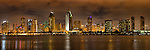 Panoramic of San Diego skyline at night