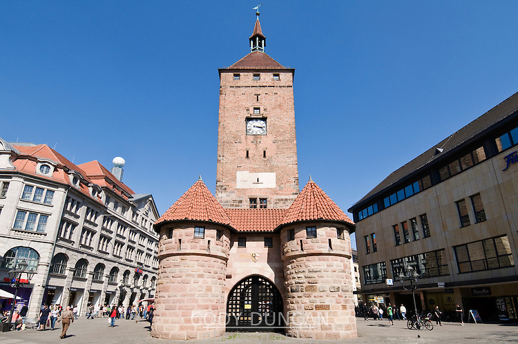 Weisser Turm - White tower, Nuremberg city center, Franconia, Bavaria, Germany