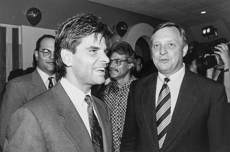 Clinton Advisor, George Stephanopoulos and Illinois Senate canditate Rep. Dick Durbin, D-Ill., at Poseidon, Greek restaurant in August 1996. (Photo by Laura Patterson/CQ Roll Call)