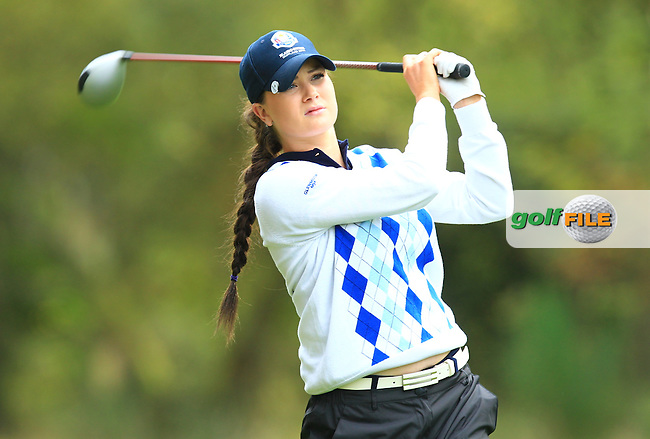 Annabel Dimmock of Europe tees off during the Junior Ryder Cup at the Blairgowrie Golf Club on 23rd September 2014.<br /> Picture Richard Martin-Roberts www.golffile.ie