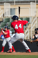 Alex Wojciechowski (44) of the Lakewood BlueClaws at bat against the Kannapolis Intimidators at Kannapolis Intimidators Stadium on April 9, 2017 in Kannapolis, North Carolina.  The BlueClaws defeated the Intimidators 7-1.  (Brian Westerholt/Four Seam Images)