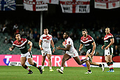 4th November 2017, Sydney Football Stadium, Sydney, Australia; Rugby League World Cup, England versus Lebanon; Jermaine McGillvary of England makes a run across field