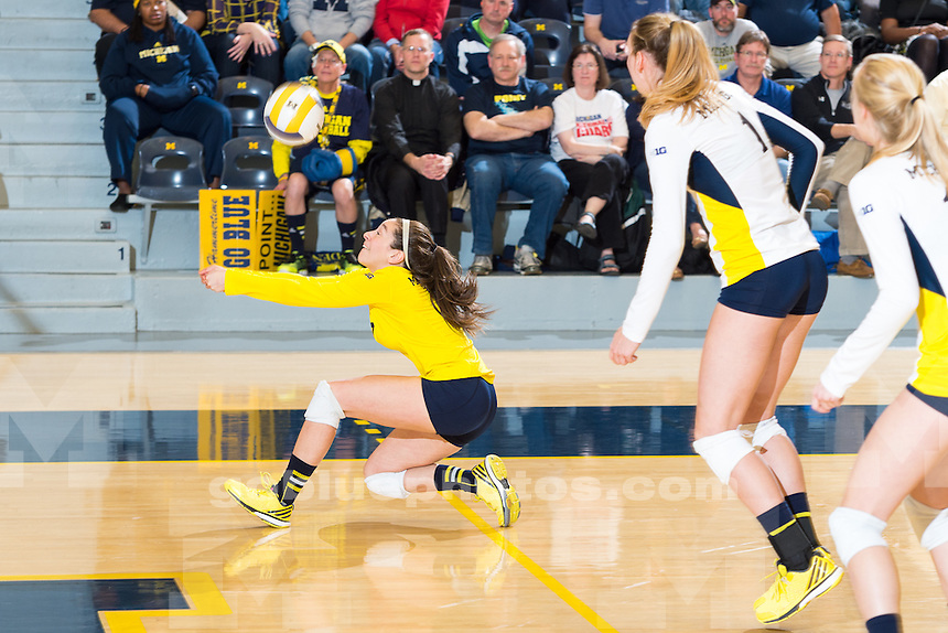 The University of Michigan women's volleyball team,3-0,loss to Wisconsin at Cliff Keen Arena in Ann Arbor,MI. on Nov.11,2015.