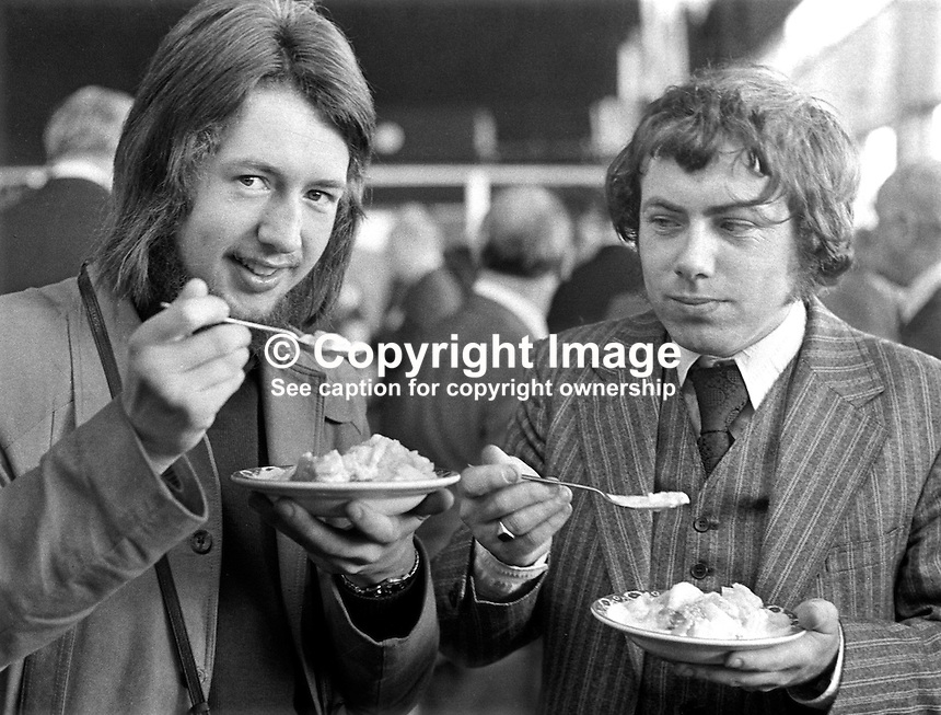 Eugene McVeight, freelance stills photographer, left, and Dominic Cunningham, reporter, Belfast office, Irish Independent, during N Ireland Troubles, attending a non-Troubles event. 197210000690..Copyright Image from Victor Patterson, 54 Dorchester Park, Belfast, UK, BT9 6RJ..Tel: +44 28 9066 1296.Mob: +44 7802 353836.Voicemail +44 20 8816 7153.Skype: victorpattersonbelfast.Email: victorpatterson@me.com.Email: victorpatterson@ireland.com (back-up)..IMPORTANT: If you wish to use this image or any other of my images please go to www.victorpatterson.com and click on the Terms & Conditions. Then contact me by email or phone with the reference number(s) of the image(s) concerned.