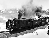 3/4 front view of Rotary OY being pushed into Cumbres by K-36 engine #484.<br /> C&amp;TS  Cumbres, CO