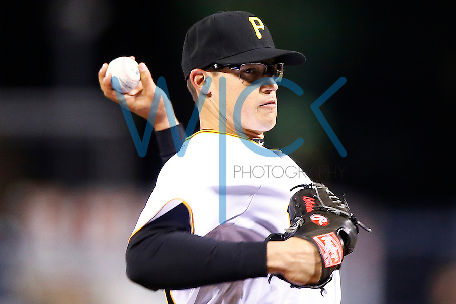Kyle Lobstein #53 of the Pittsburgh Pirates pitches against the St. Louis Cardinals during the game at PNC Park in Pittsburgh, Pennsylvania on April 5, 2016. (Photo by Jared Wickerham / DKPS)