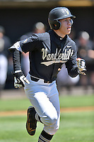 Vanderbilt Commodores right fielder Jeren Kendall (3) runs to first during a game agains against the Tennessee Volunteers at Lindsey Nelson Stadium on April 24, 2016 in Knoxville, Tennessee. The Volunteers defeated the Commodores 5-3. (Tony Farlow/Four Seam Images)