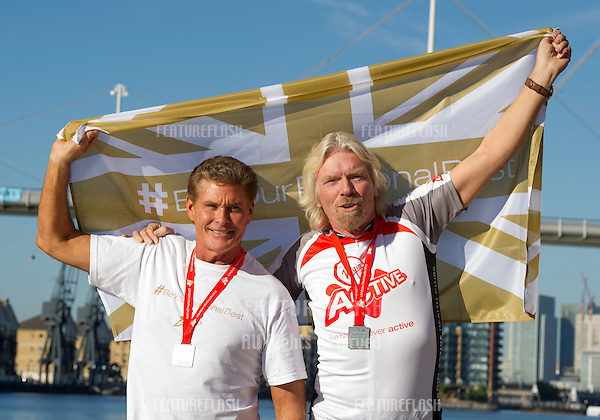 David Hasselhoff and Sir Richard Branson at the The Virgin Triathlon 2012, Excel Arena,  Docklands, London. 22/09/2012 Picture by: Simon Burchell / Featureflash.