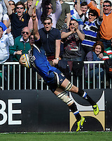 Francois Louw of Bath Rugby dives over to score the winning try during the Aviva Premiership match between Bath Rugby and Leicester Tigers at The Recreation Ground on Saturday 20th April 2013 (Photo by Rob Munro)