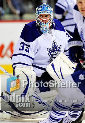 10 April 2010: Toronto Maple Leafs' goaltender Jean-Sebastien Giguere warms up prior to a game against the Montreal Canadiens at the Bell Centre in Montreal, Quebec, Canada. The Leafs defeated the Habs 4-3 in sudden death overtime, capping their final game of the regular season, with the Canadiens advancing to the Stanley Cup Playoffs with the single point. Mandatory Credit: Ed Wolfstein Photo