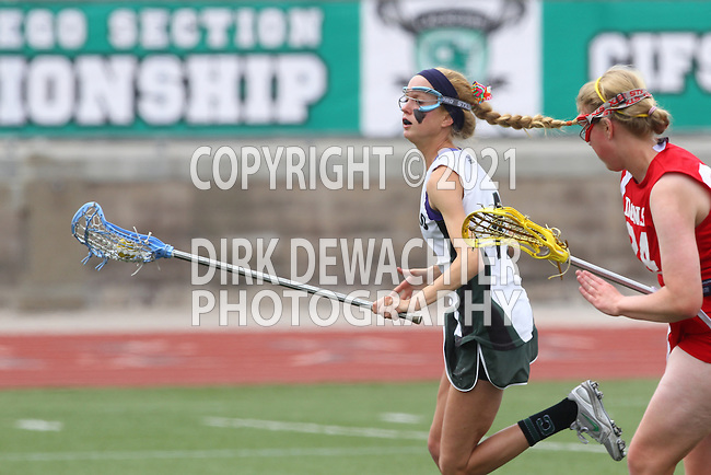 San Diego, CA 05/21/11 - Lauren Maack (Coronado #4) and Megan Depew-Brady (Cathedral Catholic #24) in action during the 2011 CIF San Diego Division 2 Girls lacrosse finals between Cathedral Catholic and Coronado.