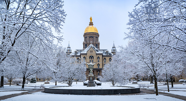 March 23, 2020; Main Quad after a snowfall (Photo by Matt Cashore/University of Notre Dame)