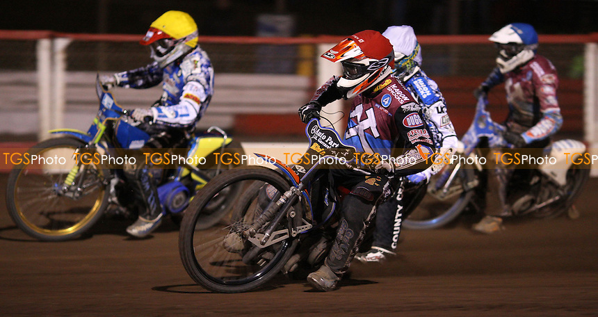 Heat 15: Peter Karlsson (red), Darcy Ward (white), Krzysztof Kasprzak (yellow) and Kauko Nieminen (blue) - Lakeside Hammers vs Poole Pirates, Elite League Speedway Play-Off Semi-Final 1st leg at the Arena Essex Raceway, Pufleet - 24/09/12 - MANDATORY CREDIT: Rob Newell/TGSPHOTO - Self billing applies where appropriate - 0845 094 6026 - contact@tgsphoto.co.uk - NO UNPAID USE.