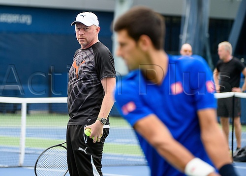 31.08.2015. New York, NY, USA.  Boris Becker (GER) and Novak Djokovic (SRB) during practice at the 2015 U.S. Open Tennis Championships at the USTA Billie Jean King National Tennis Center in Flushing, Queens, New York, USA.