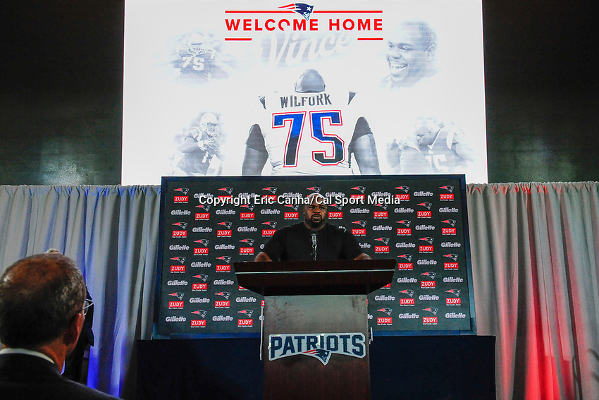 August 9, 2017: Vince Wilfork speaks to the media at his retirement announcement  held at the Optum Field Lounge, in Gillette Stadium, in Foxborough, Mass. Wilfork signed a one day contract allowing him to retire from the NFL as a New England Patriot.
