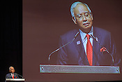 Malaysian prime minister, Dato' Sri Najib bin Tun Abdul Razak addresses the audience at the Women Deliver Conference in Kuala Lumpur, Malaysia.