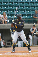 Bristol Pirates outfielder Yondry Contreras (23) at bat during a game against the Greeneville Reds at Pioneer Field on June 19, 2018 in Greeneville, Tennessee. Bristol defeated Greeneville 10-2. (Robert Gurganus/Four Seam Images)