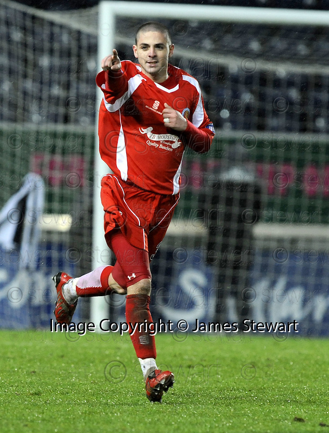 10/01/2009  Copyright Pic: James Stewart.File Name : sct_jspa33_falkirk_v_qots.ROBERT HARRIS CELEBRATES ATER HE SCORES QUEEN OF THE SOUTH'S SECOND.James Stewart Photo Agency 19 Carronlea Drive, Falkirk. FK2 8DN      Vat Reg No. 607 6932 25.Studio      : +44 (0)1324 611191 .Mobile      : +44 (0)7721 416997.E-mail  :  jim@jspa.co.uk.If you require further information then contact Jim Stewart on any of the numbers above.........