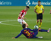 23rd June 2020, Camp Nou, Barcelona, Spain; La Liga Football league, FC Barcelona versus Athletico Bilbao;  Sancet is slide tackled by Gerard Pique of Barca
