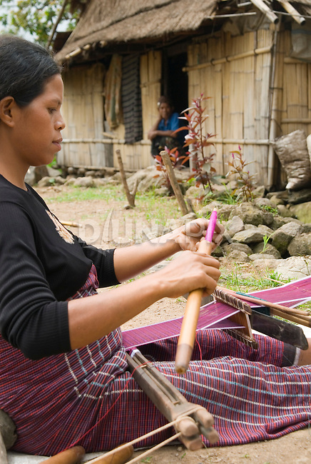 Woman weaving ikat, Todo village, Manggarai, Flores