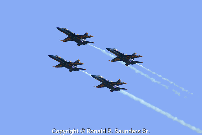 The BLUE ANGELS in FORMATION<br /> <br /> The United States Navy's Flight Demonstration Squadron, popularly known as the Blue Angels,first performed in 1946 and is currently the oldest formal flying aerobatic team. They fly F/A-18 Hornets at air shows and special events to boost recruiting for both the United States Navy and the Marine Corps.<br /> (14)