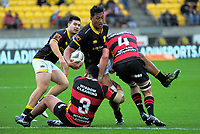 Sam Lousi is tackled during the Mitre 10 Cup rugby union match between Wellington Lions and Canterbury at Westpac Stadium in Wellington, New Zealand on Sunday, 17 September 2017. Photo: Dave Lintott / lintottphoto.co.nz