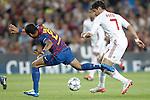 Barcelona's Daniel Alves and AC Milan's Pato during Champions League match on september 13th 2011...Photo: Cesar Cebolla / ALFAQUI