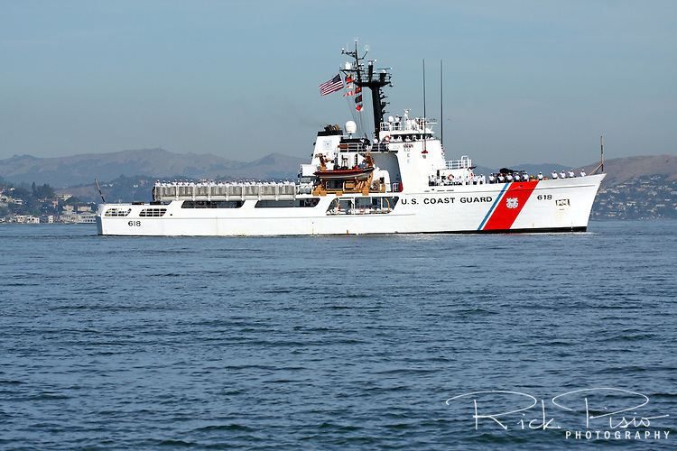 The United States Coast Guard Cutter Active (WMEC-618) travels across San Francisco Bay after passing under the Golden Gate Bridge as part of the 2010 San Francisco Fleet Week Parade of Ships. The Active is the seventh Coast Guard vessel to bear the name. She was launched at Sturgeon Bay, Wisconsin on July 31, 1965 and officially Commissioned as a Coast Guard Cutter on September 1, 1966.