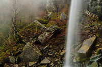 Waterfall Cascading Onto Rocks In The Indian Ladder Trail In John Boyd Thatcher State Park, New York
