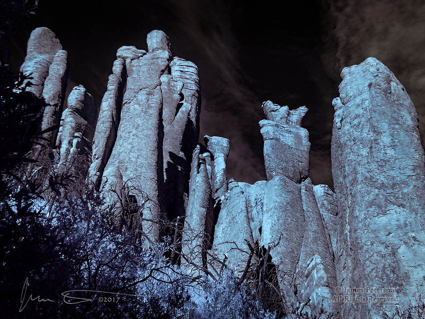 March of The Titans (Infrared) ©2017 James D Peterson.  These imperial beings were keeping an eye on the Hailstone Trail in Arizona's Chiricahua National Monument.