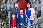 Jude Ó Hogain De Mhoore from Gaelsscoil Mhic Easmainn NS received his First Holy Communion in St John's Church on Saturday.<br /> L to r: Jane, James and Angela Ó Hogain De Mhoore