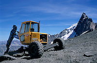 Earth mover at the summit of La Meije in the French Alps, France.