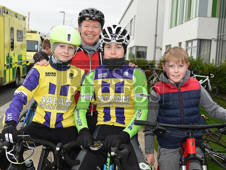 Colin, Darragh, Loman and Sean Lenehan who took part in the Duleek Parish annual spotive cycle inn aid of Duleek National School. Photo:Colin Bell/pressphotos.ie